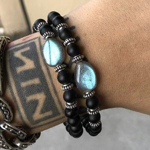 Silverskylight Jewelry - Genuine Labradorite & matte onyx bracelets set